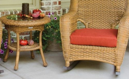 #71 - Outdoor Patio Garden Furniture Mojave Resin Wicker Rocker and Table Bundle in Rave Brick