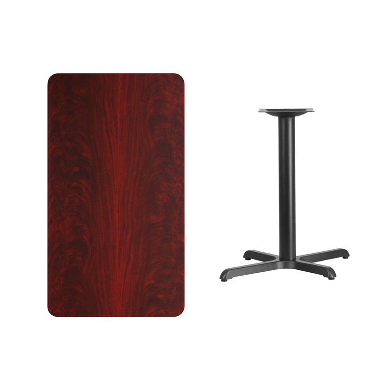 #146 - 24'' X 42'' RECTANGULAR MAHOGANY LAMINATE TABLE TOP WITH 22'' X 30'' TABLE HEIGHT BASE