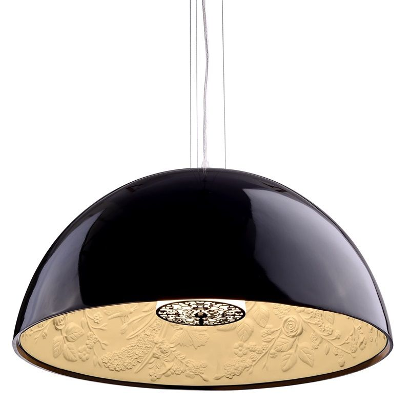 #54 - Old Fashion to Modern Shaped Black Ceiling Lamp w/Floral Print - Modern Decor