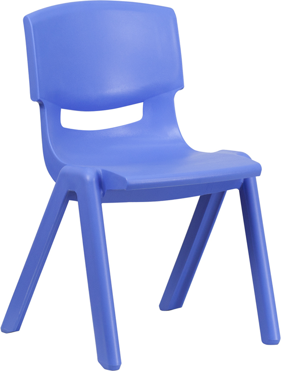 #13 - BLUE PLASTIC STACKABLE SCHOOL CHAIR WITH 15.5'' SEAT HEIGHT