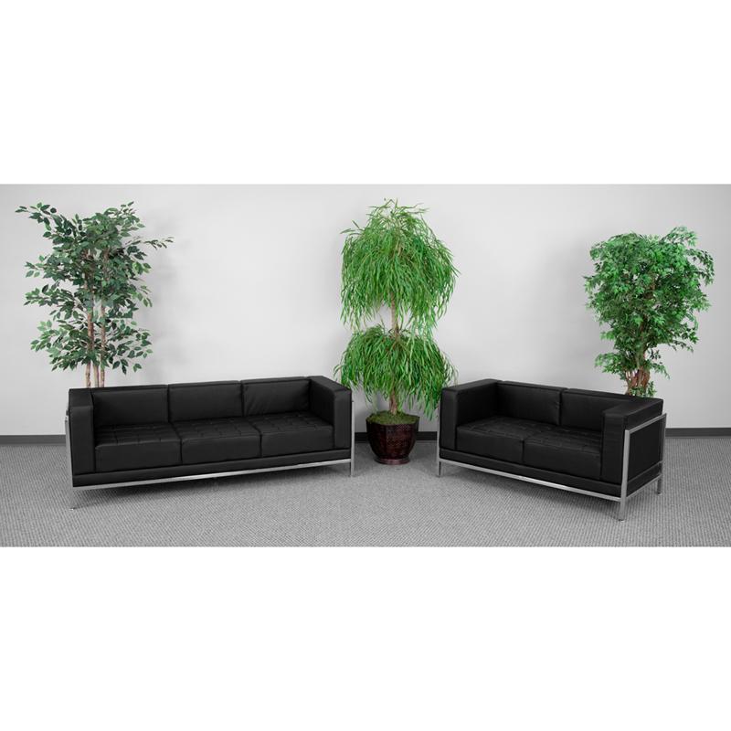 #35 - Imagination Series Black Leather Sofa & Love Seat Set