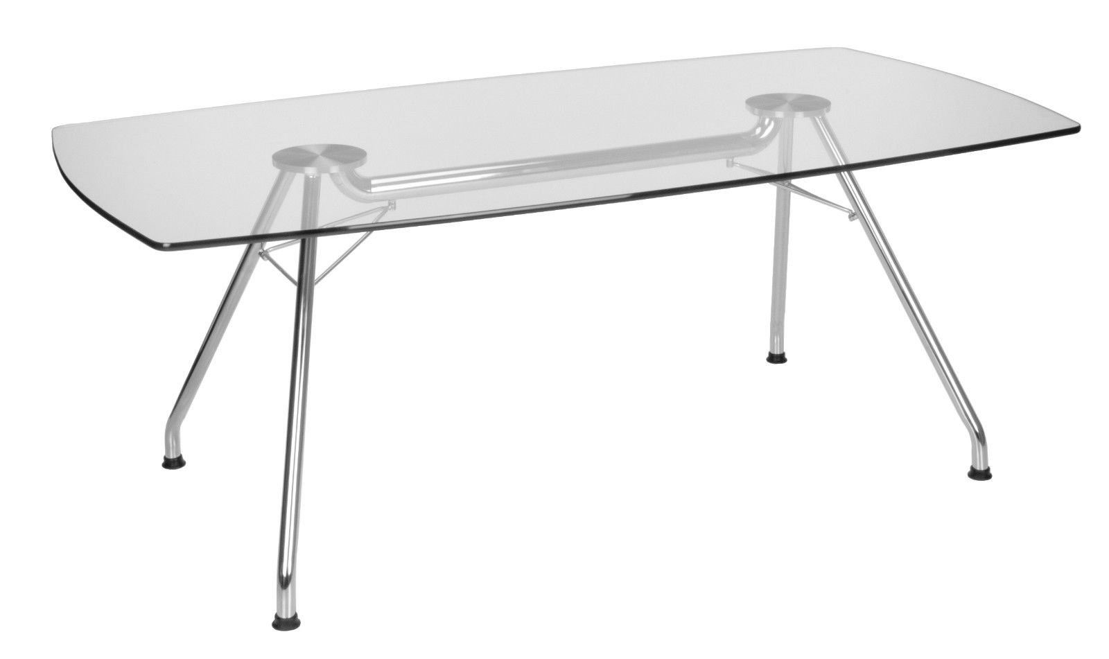 #13 - Tempered Glass Top Conference Table with Stainless Steel Frame 39