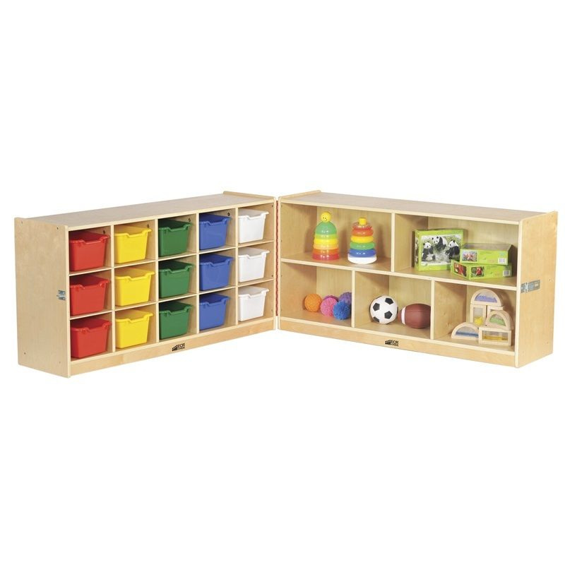 #21 - 24''Fold & Lock 15 Tray Storage Cabinet w/15 Color Bins