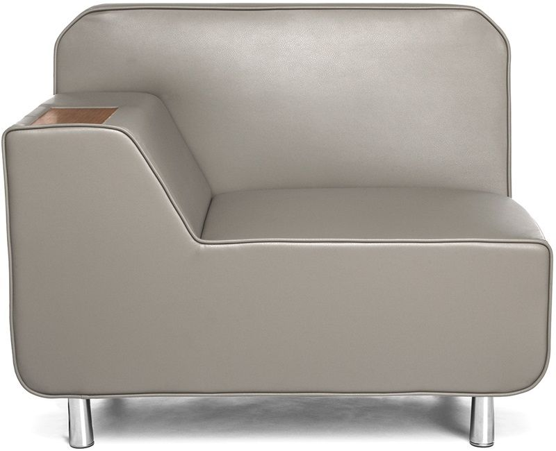 #173 - Right Arm Lounge Chair in Taupe with Bronze Finish