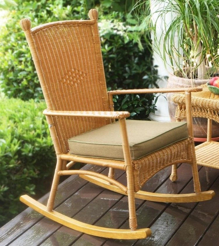 #15 - Outdoor Patio Garden Southwest Amber Resin Wicker Classic Rocking Chair Set