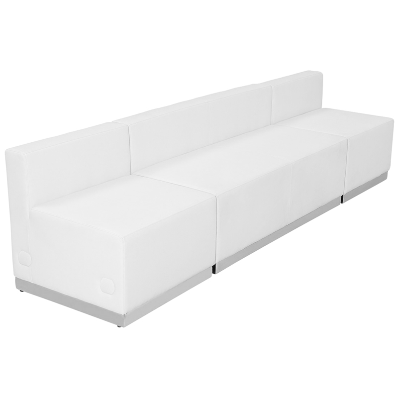 #62 - LOUNGE SERIES WHITE LEATHER RECEPTION CONFIGURATION, 3 PIECES