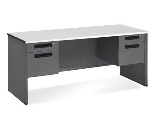 #12 - Executive Series Office Desk w/ Double Pedestal Panel End Credenza Gray Color