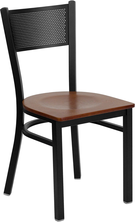 #92 - BLACK GRID BACK METAL RESTAURANT CHAIR - CHERRY WOOD SEAT