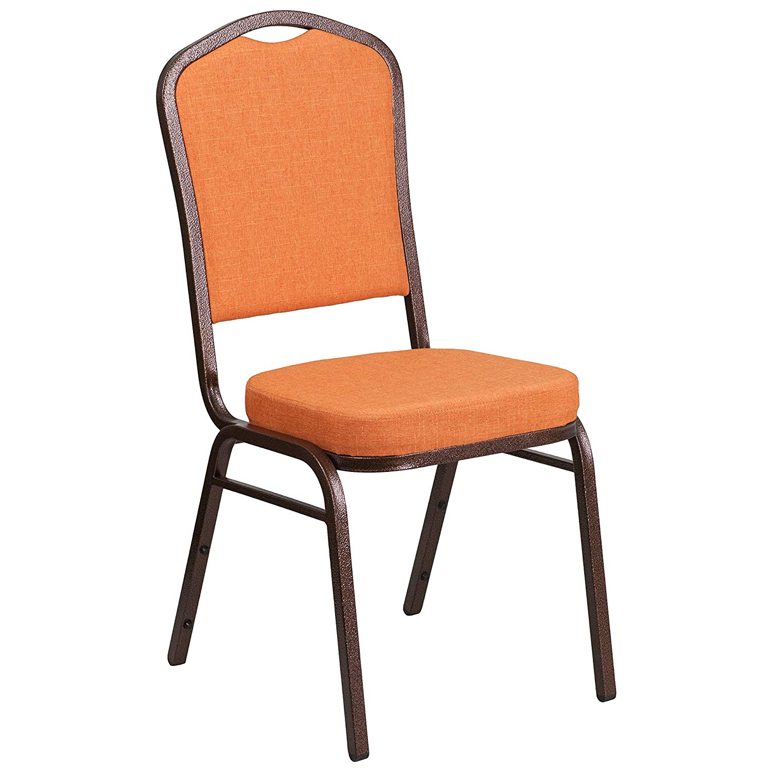 #42 - CROWN BACK BANQUET CHAIR WITH ORANGE FABRIC