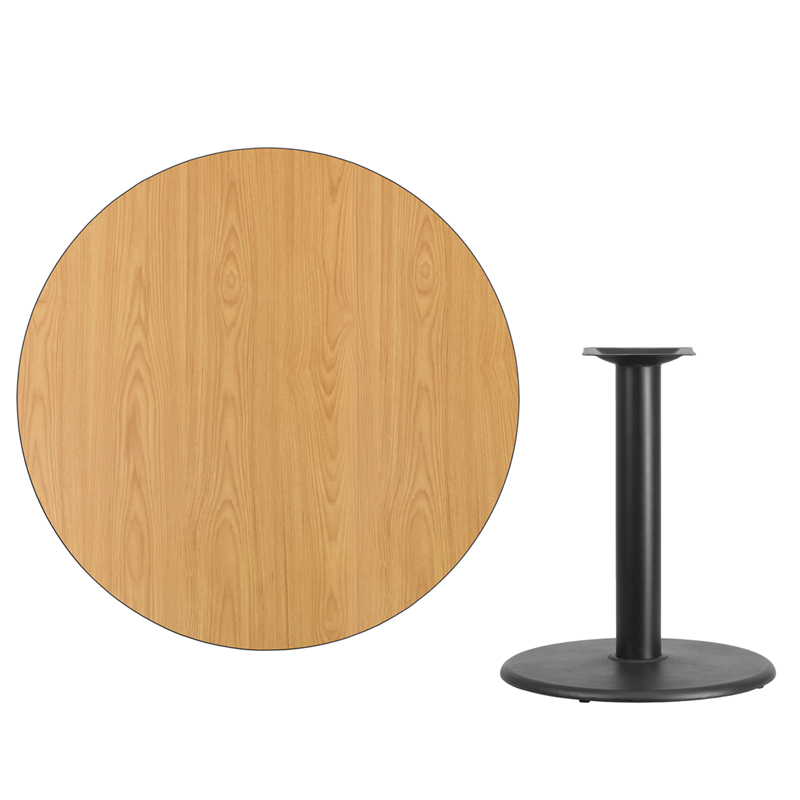 #60 - 42'' Round Natural Laminate Table Top with 24'' Round Table Height Base