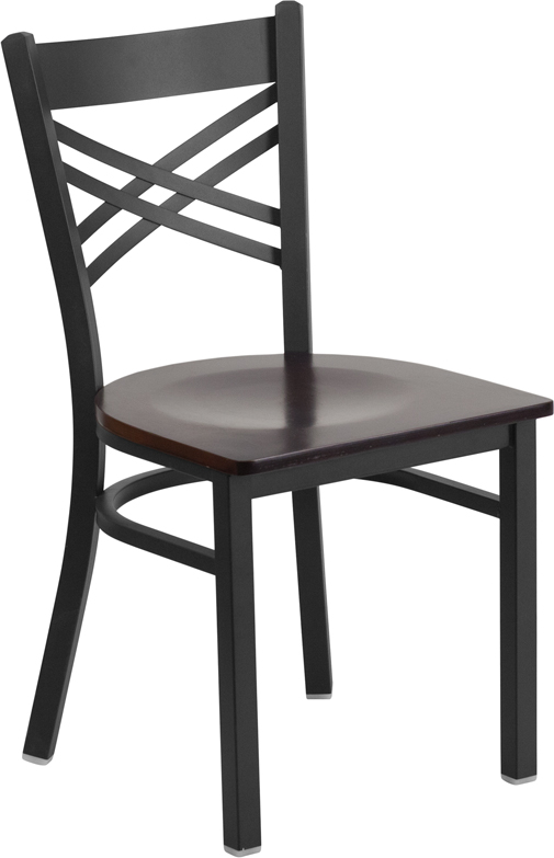 #27 - Black ''X'' Back Metal Restaurant Chair with a Walnut Finish Wood Seat
