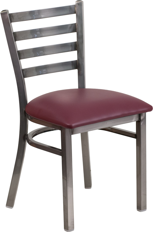 #73 - Clear Coated Ladder Back Metal Restaurant Chair with Burgundy Vinyl Seat
