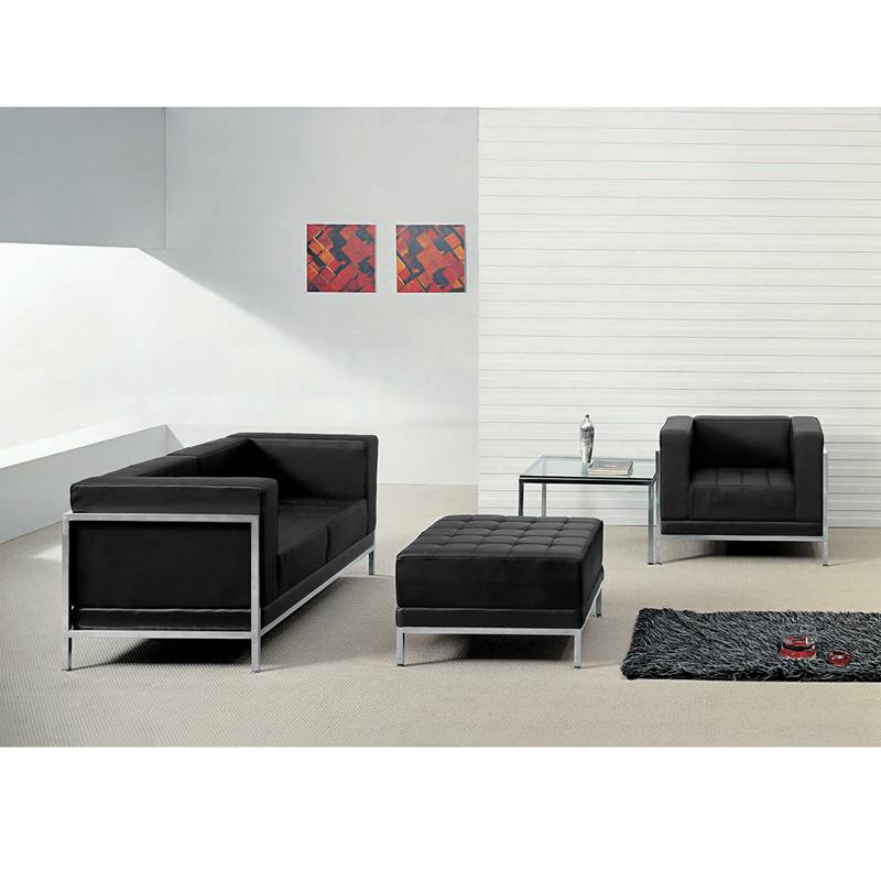 #36 - Imagination Series Black Leather Loveseat, Chair & Ottoman Set