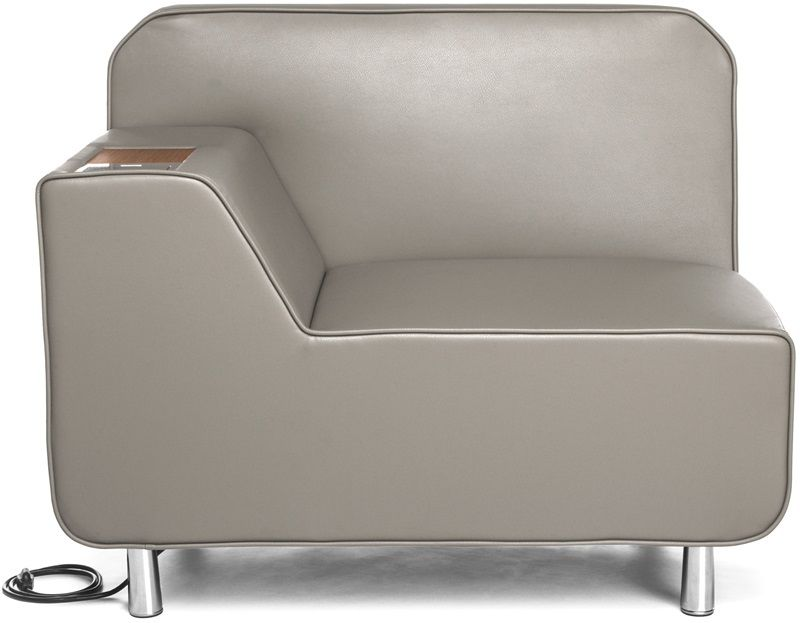 #174 - Right Arm Lounge Chair in Taupe with Electrical Outlet in Taupe wuth Bronze Finish