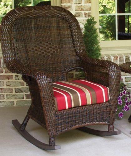 #73 - Outdoor Patio Garden Furniture Java Resin Wicker Rocker and Table Set in Monserrat