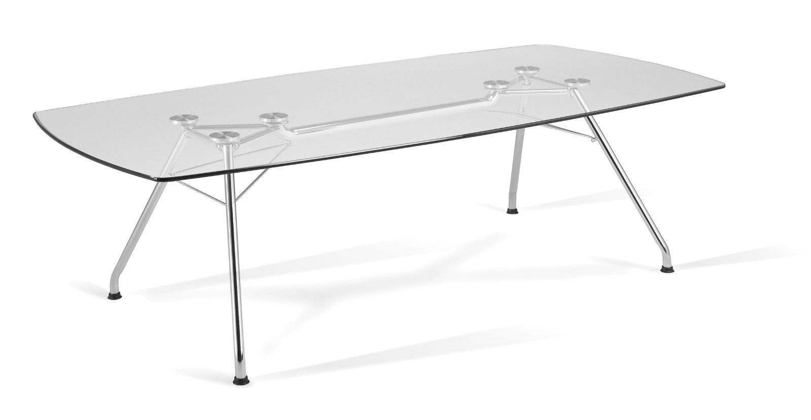 #14 - Tempered Glass Top Conference Table with Stainless Steel Frame 47