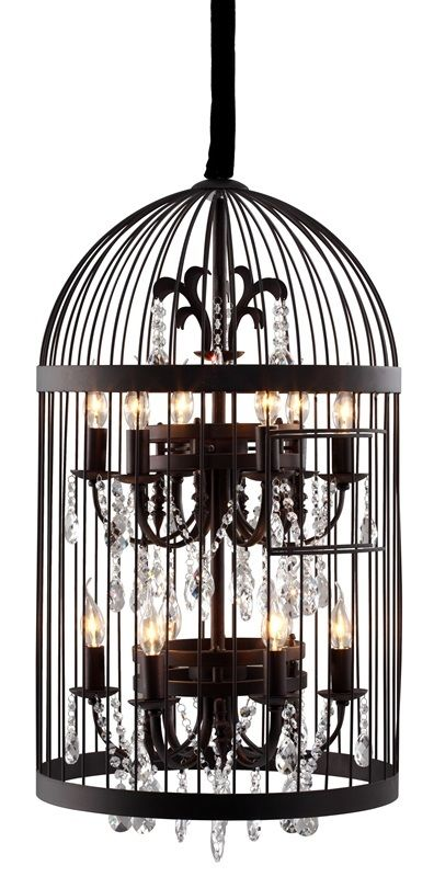 #83 - Vintage Birdcage Chandelier Ceiling Lamp in Rust w/Crystal Lamp