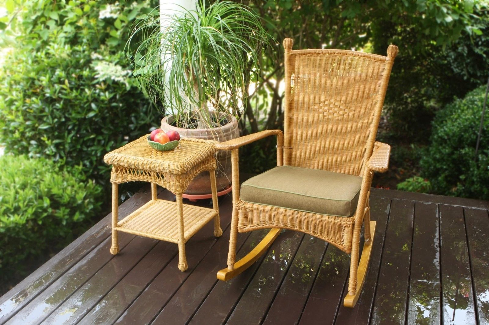 #16 - Outdoor Patio Garden Southwest Amber Resin Wicker Classic Rocking Chair