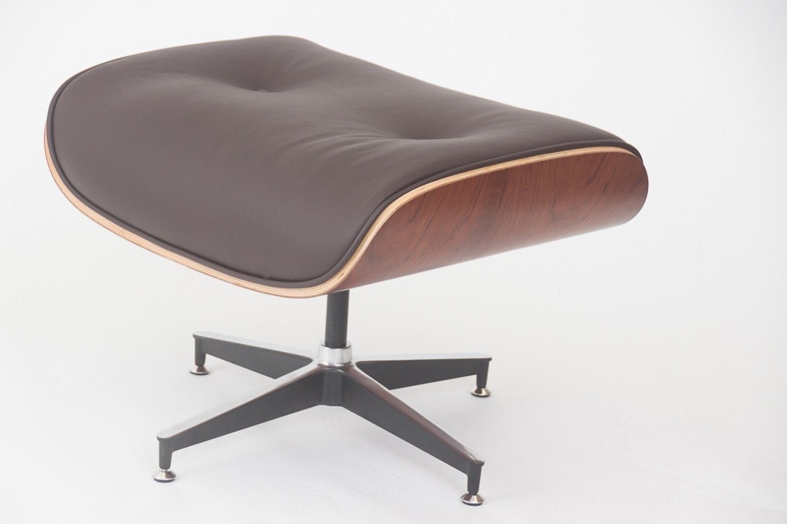 #49 - Eames Style Walnut Lounge Chair and Ottoman Set in Brown Top Grain Leather