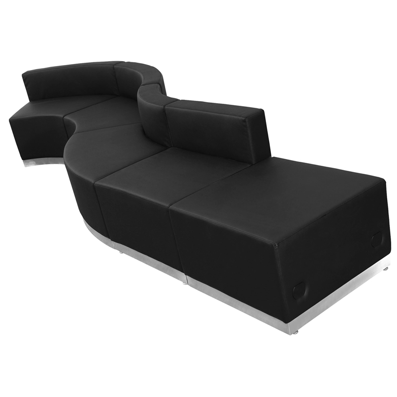 #23 - LOUNGE SERIES BLACK LEATHER RECEPTION CONFIGURATION, 5 PIECES