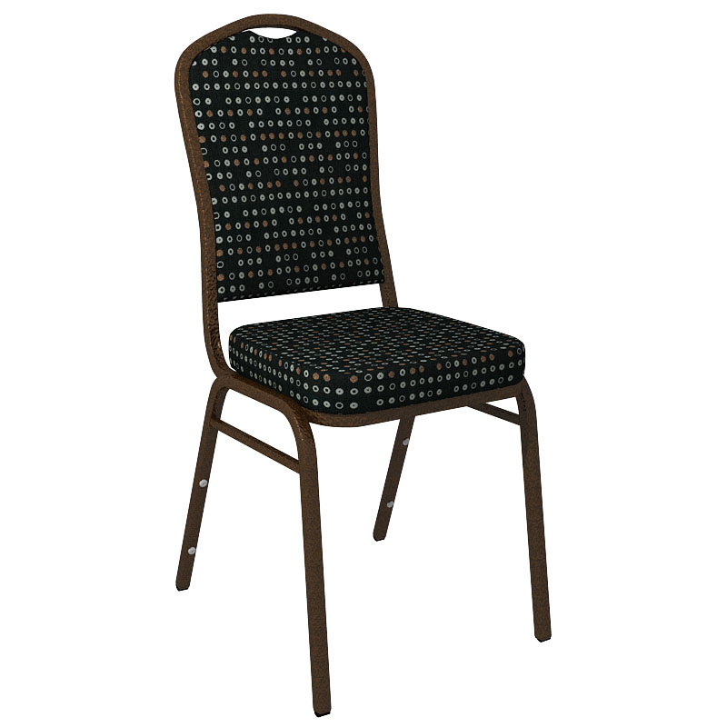 #11 - FINE TUNE ONYX FABRIC UPHOLSTERED CROWN BACK BANQUET CHAIR - GOLD VEIN FRAME