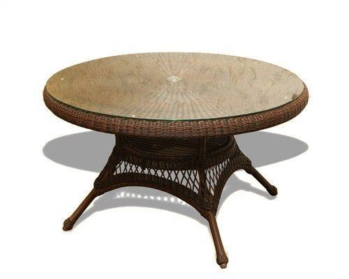 "#116 - 48"" Round Java Resin Wicker Outdoor Dining Table - Patio Garden Furniture"