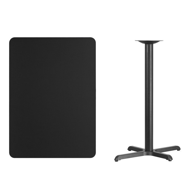 #153 - 30'' X 42'' RECTANGULAR BLACK LAMINATE TABLE TOP WITH 22'' X 30'' BAR HEIGHT BASE