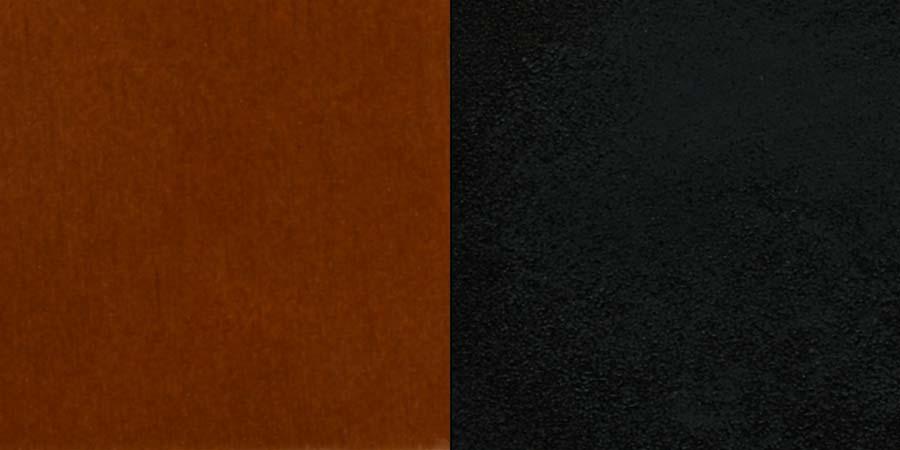 #92 - BLACK GRID BACK METAL RESTAURANT CHAIR - CHERRY WOOD SEAT