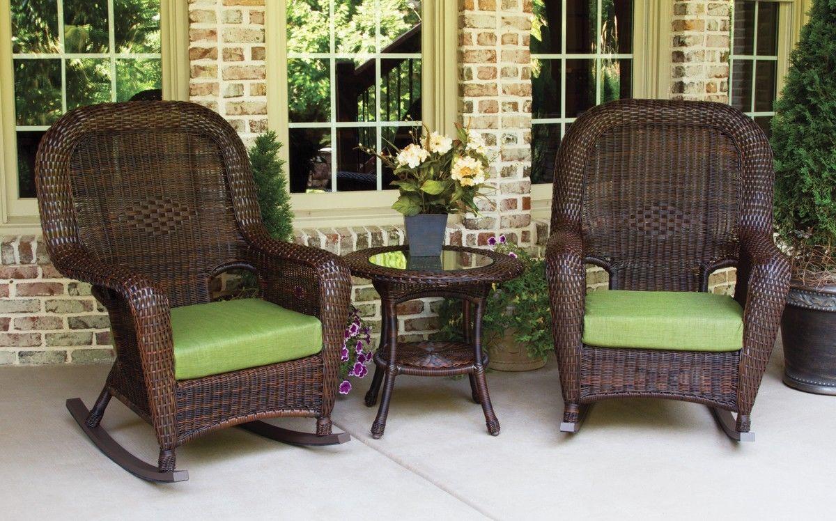 #74 - Outdoor Patio Garden Furniture Java Resin Wicker Rocker and Table Set in Pine
