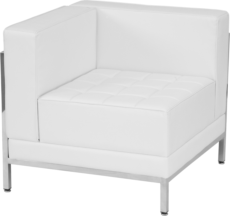 #73 - 9 Piece Imagination Series White Leather Sectional Configuration