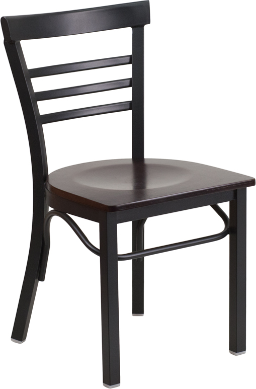 #62 - Black Ladder Back Metal Restaurant Chair with a Walnut Finished Wood Seat