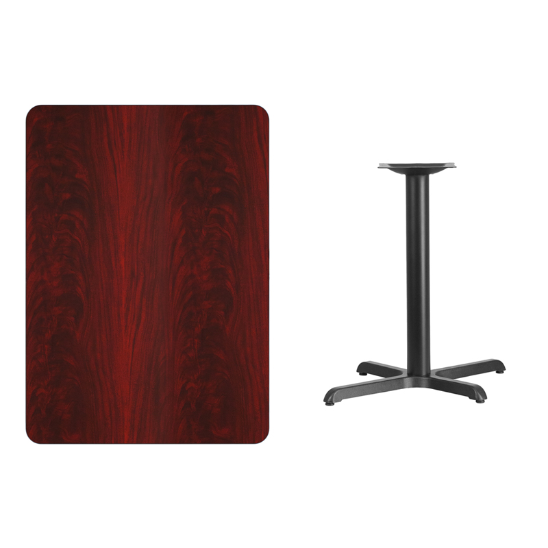 #154 - 30'' X 42'' RECTANGULAR MAHOGANY LAMINATE TABLE TOP WITH 22'' X 30'' TABLE HEIGHT BASE