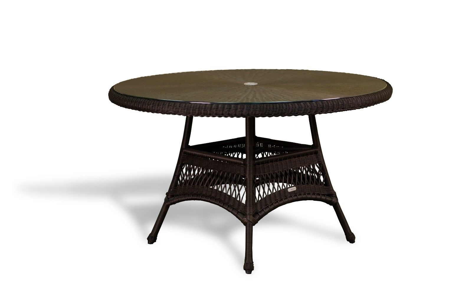 "#117 - 48"" Round Tortoise Resin Wicker Outdoor Dining Table - Patio Garden Furniture"