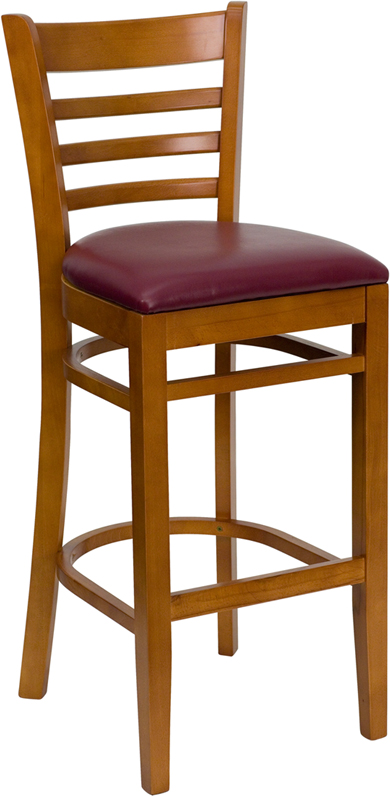 #27 - CHERRY WOOD FINISHED LADDER BACK RESTAURANT BAR STOOL WITH BURGUNDY VINYL SEAT