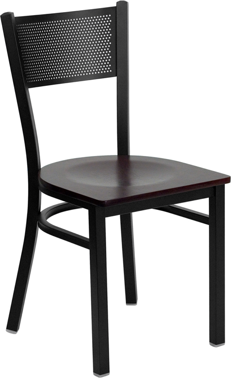 #93 - BLACK GRID BACK METAL RESTAURANT CHAIR - MAHOGANY WOOD SEAT