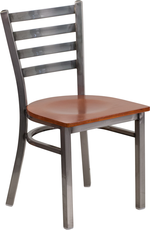 #74 - Clear Coated Ladder Back Metal Restaurant Chair with Cherry Wood Seat