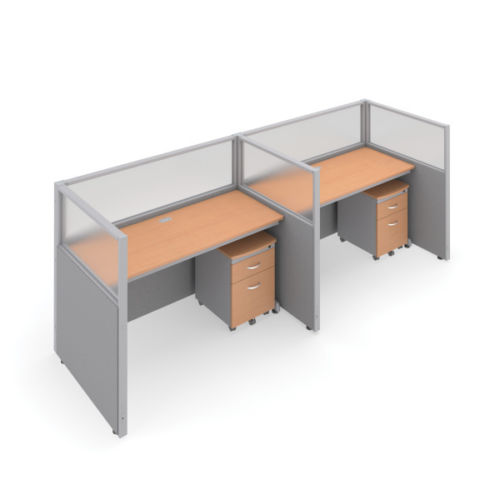 #20 - 47'' H x 60'' W 2 Rize Office Privacy WorkStation in Gray Vinyl w/Maple Finish