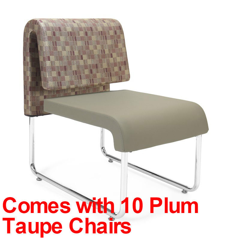 #17 - (15 PCS)UNO Series Lounge Package w/Plum Taupe Chairs & Painted Screen Tables