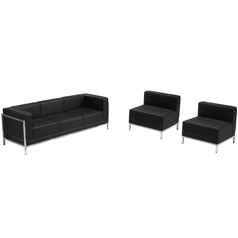 #37 - Imagination Series Black Leather Sofa & Chair Lounge Set