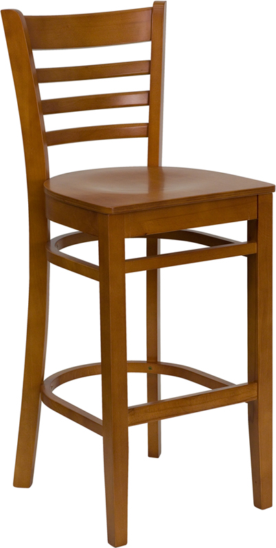 #28 - CHERRY WOOD FINISHED LADDER BACK RESTAURANT BAR STOOL WITH MATCHING WOOD SEAT