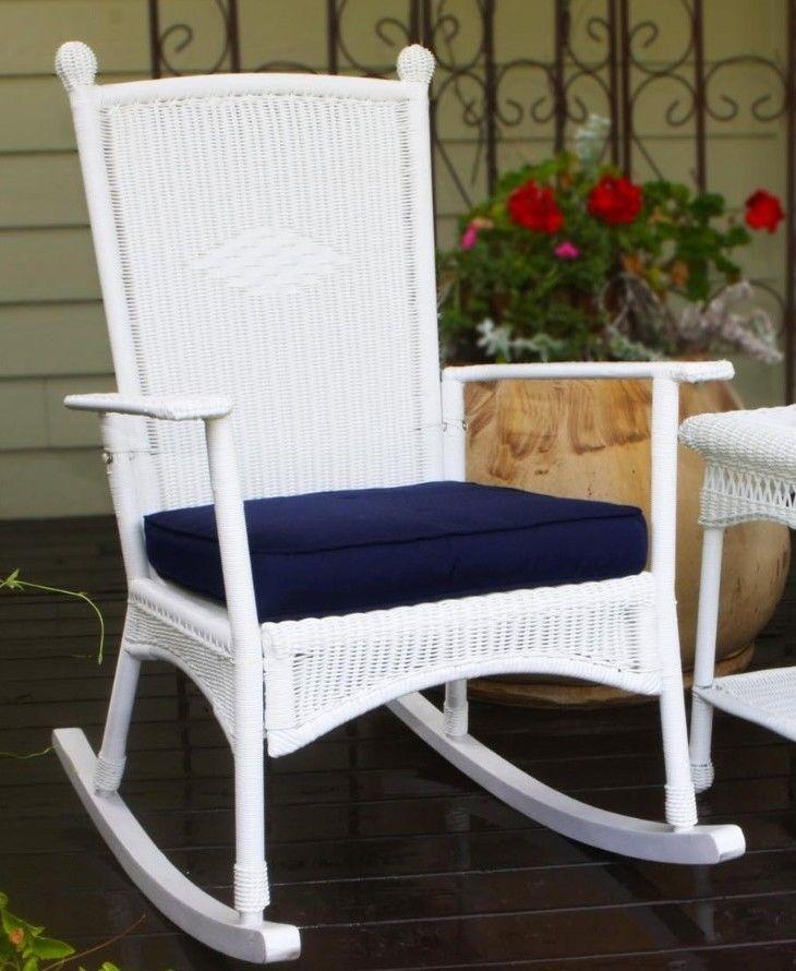 #17 - Outdoor Patio Garden Coastal White Resin Wicker Classic Rocking Chair