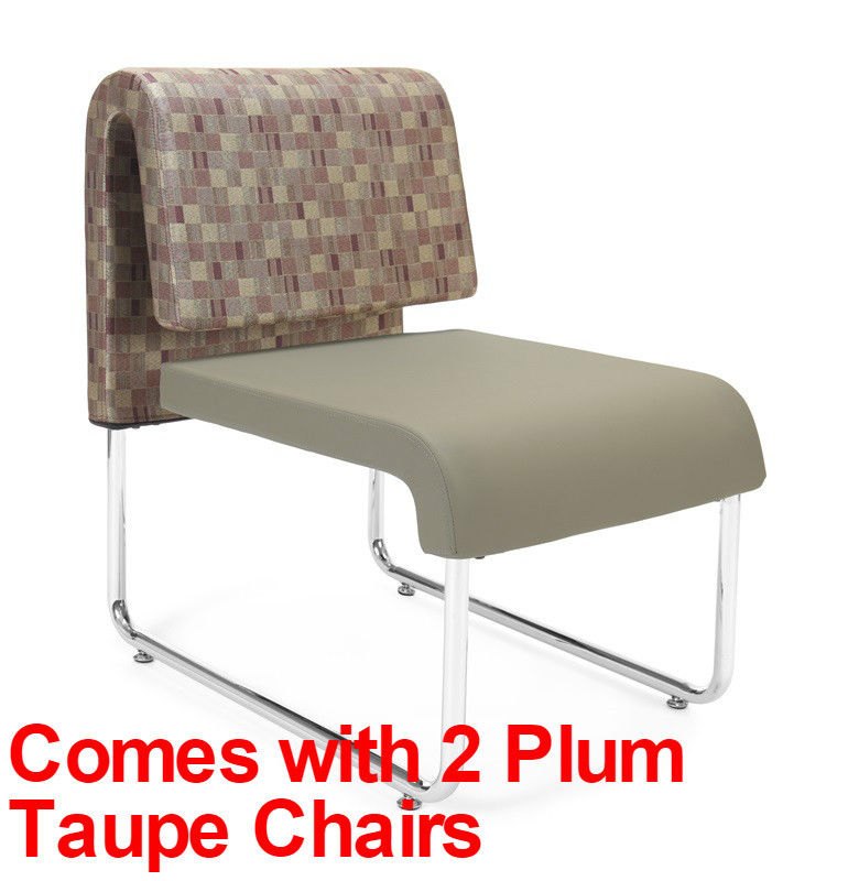 #87 - (3 PCS)UNO Series Lounge Package w/Plum Taupe Chairs & Windswept Bronze Table