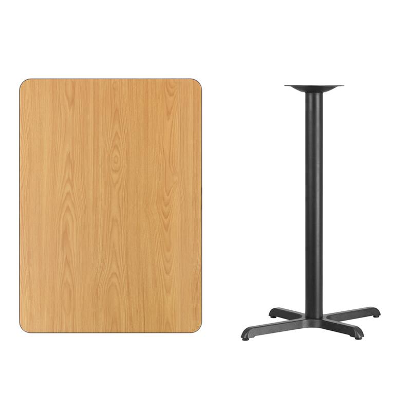 #157 - 30'' X 42'' RECTANGULAR NATURAL LAMINATE TABLE TOP WITH 22'' X 30'' BAR HEIGHT BASE