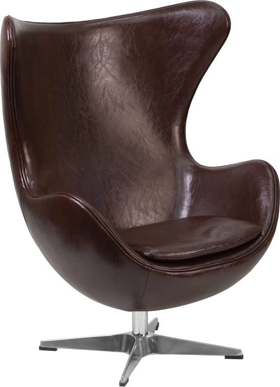#28 - Brown Leather Egg Chair with Tilt-Lock Mechanism - Accent Lounge Chair