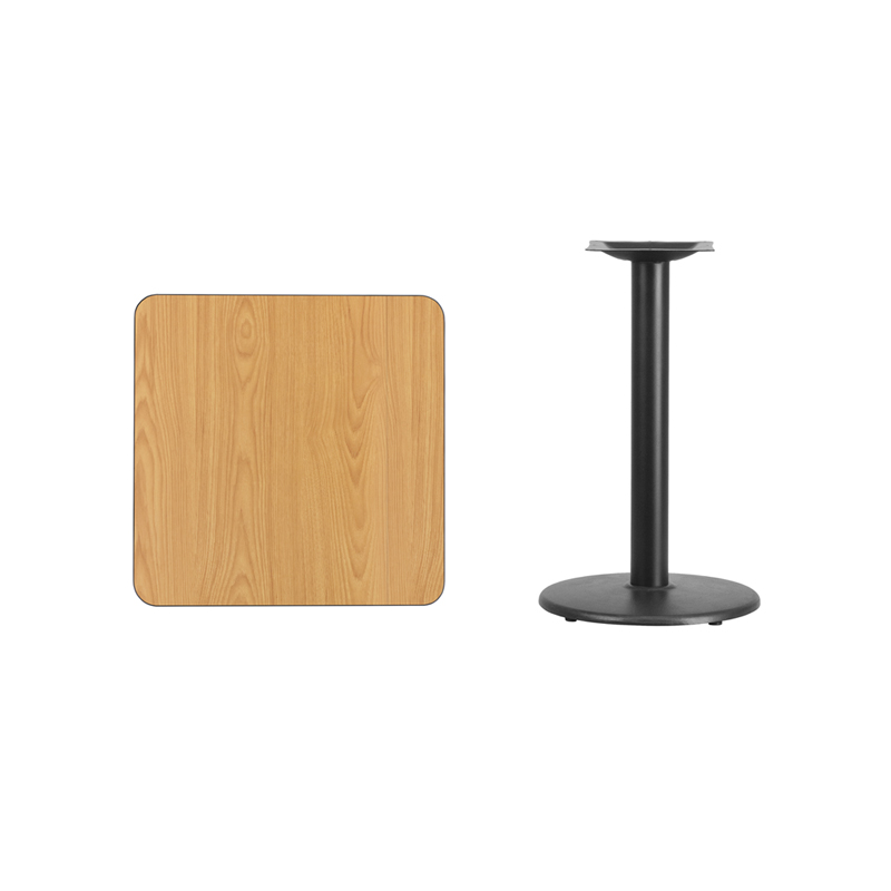 #76 - 24'' SQUARE NATURAL LAMINATE TABLE TOP WITH 18'' ROUND TABLE HEIGHT BASE