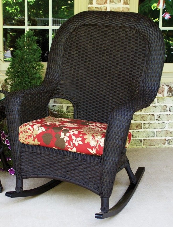 #75 - Outdoor Patio Garden Furniture Tortoise Resin Wicker Rocking Chair and Table Set in Monfleuri