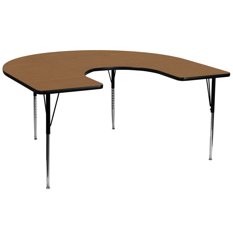 #119 - 60''W x 66''L Horseshoe Activity Table with Oak Thermal Fused Laminate Top and Standard Height Adjustable Legs
