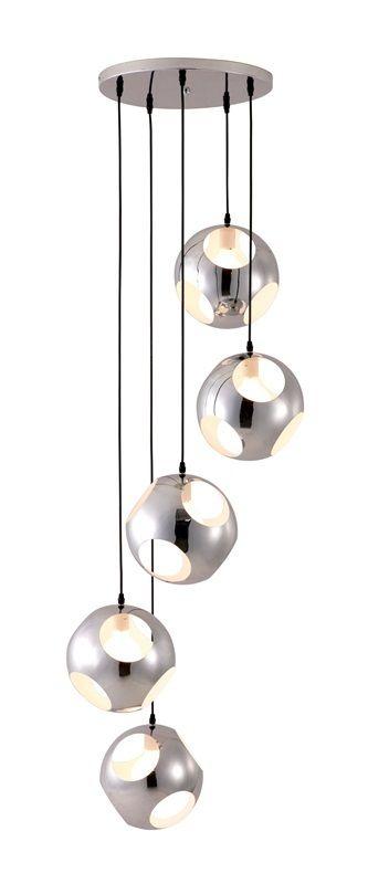 #89 - Modern Spiral of Pendants Chrome Ceiling Lamp w/Five 40 Watt Bulbs -Modern Decor