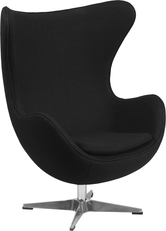 #35 - Black Fabric Egg Chair with Tilt-Lock Mechanism - Accent Lounge Chair
