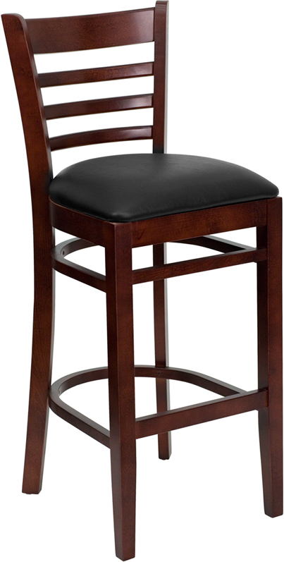 #28 - MAHOGANY WOOD FINISHED LADDER BACK RESTAURANT BAR STOOL WITH BLACK VINYL SEAT